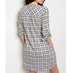 Dresses - 3/$20 NEW Yellow and Navy Plaid Summer Dress